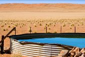 Corrugated Iron Dam On Desert Farm