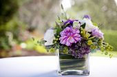 stock photo of centerpiece  - Floral Centerpiece on a Table at a Wedding Reception