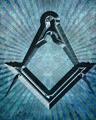 foto of freemason  - Masonic square and compass with some soft highlights - JPG
