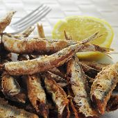a plate with some spanish boquerones fritos, fried anchovies typical in Spain, served as tapas