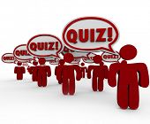 A group of people in a class with the word Quiz in speech bubbles over their heads in a test or exam