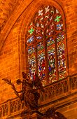 Angel Statue Stained Glass Seville Cathedral Spain