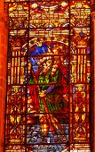 Moses Stained Glass Angel Statue Cathedral Of Saint Mary Of The See Seville Andalusia Spain