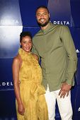 BEVERLY HILLS - AUG 15: Tyson Chandler, Kimberly Chandler at a summer celebration hosted by Delta Air Lines at a private residence on August 15, 2013 in Beverly Hills, California