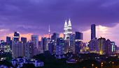 picture of petronas twin towers  - Kuala Lumpur skyline at night - JPG