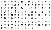 Vintage typed alphabet with 5 different variations of every letter