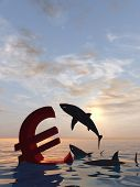 High resolution conceptual bloody euro symbol or sign sinking in water or sea, with black sharks eating as a metaphor or concept for crisis in Europe, ideal for financial,business or currency designs