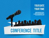 stock photo of microphone  - Conference template illustration with space for your texts - JPG