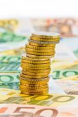 single stack of money coins symbol photo for financial planning, investment, investment