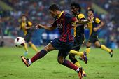 KUALA LUMPUR - AUGUST 10: FC Barcelona's Adriano kicks the ball in a friendly match against Malaysia