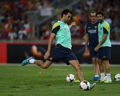 KUALA LUMPUR - AUGUST 9: FC Barcelona 's players practice during training at the Bukit Jalil National Stadium on August 09, 2013 in Malaysia. FC Barcelona is on an Asia Tour to Malaysia.