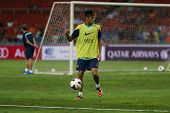 KUALA LUMPUR - AUGUST 9: FC Barcelona's Neymar Jr. practices during training at the Bukit Jalil Stad