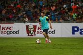 KUALA LUMPUR - AUGUST 9: FC Barcelona 's Lionel Messi practices during training at the Bukit Jalil Stadium on August 09, 2013 in Malaysia. FC Barcelona is on an Asia Tour to Malaysia and Thailand.