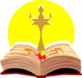 stock photo of mahabharata  - Illustration of a divine lamp and religious book - JPG