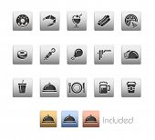Food Icons - Set 2 // Metallic Series - It includes 4 color versions for each icon in different laye