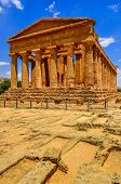 Vertical View Of Ruins Of Ancient Temple In Agrigento, Sicily