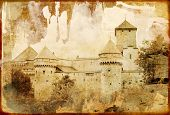old  swiss castle - picture in retro style