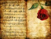 romantic vintage background with note pages and rose