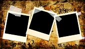 urban art style background with instant photo frames