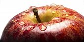 Closeup Of Apple With Water Droplests