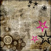 retro background in grunge style with stars over newspaper