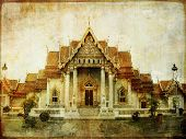 Thailand - white temple - vintage picture