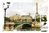 Parisian streets -  picture in vintage  painting style