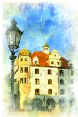 old Munich - beautiful scene in painting style
