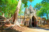 ancient Angkor gates in Cambodia