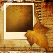 autumn retro background with frame and leaf
