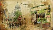 vintage Parisian cards series - Montmartre street