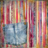 striped vintage background with denim  pocket