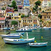 Greece - pictorial island Symi bay with boats