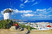 foto of greek-island  - sunny beautiful Mykonos  - JPG