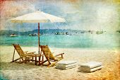 tropical beach scene - retro styled picture