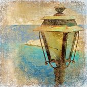 old lantern by the sea - artistic retro styled picture