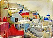 colorful Santorini - retro styled picture