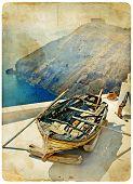 old wooden boat on santorini