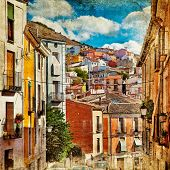 colorful Spain - streets and buildings of Cuenca town - artistic picture