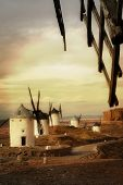 Spain, windmills on sunset, artistic toned picture