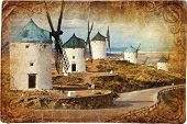 windmills in Spain- artistic retro picture