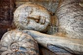stock photo of polonnaruwa  - laying Buddha in Polonnaruwa temple  - JPG