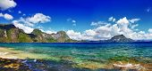 pictorial beach islands view - El nido , Palawan (philippines)