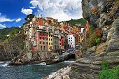 picturesque Riomaggiore fishing village - cinque terre Italy