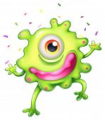 Illustration of a successful green monster on a white background