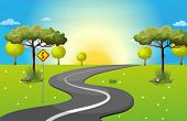 stock photo of weed  - Illustration of a long and winding road at the forest - JPG