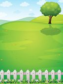 stock photo of hilltop  - Illustration of a giant tree at the hilltop - JPG