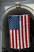 American Flag And Historic Arch poster