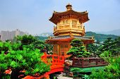 Pagoda style Chinese architecture in garden in Hong Kong.