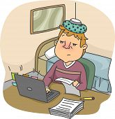 Illustration of a Flushed Man with an Ice Pack on His Head Typing on His Computer While Sick